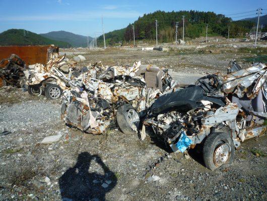 被災した車